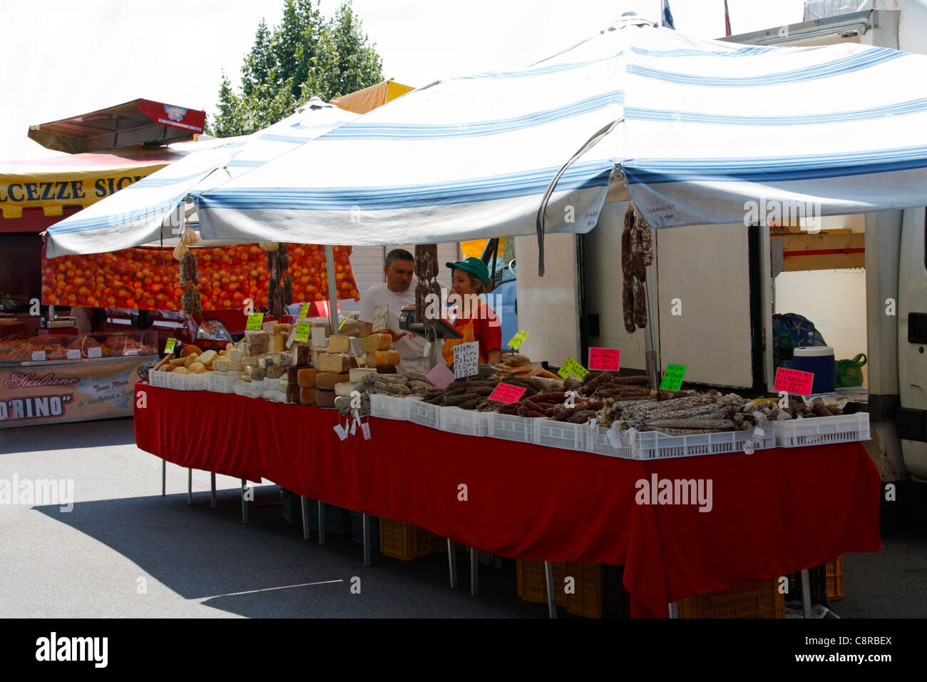 Italian outdoor food market stall Arona Italy & Italian outdoor food market stall Arona Italy Stock Photo ...