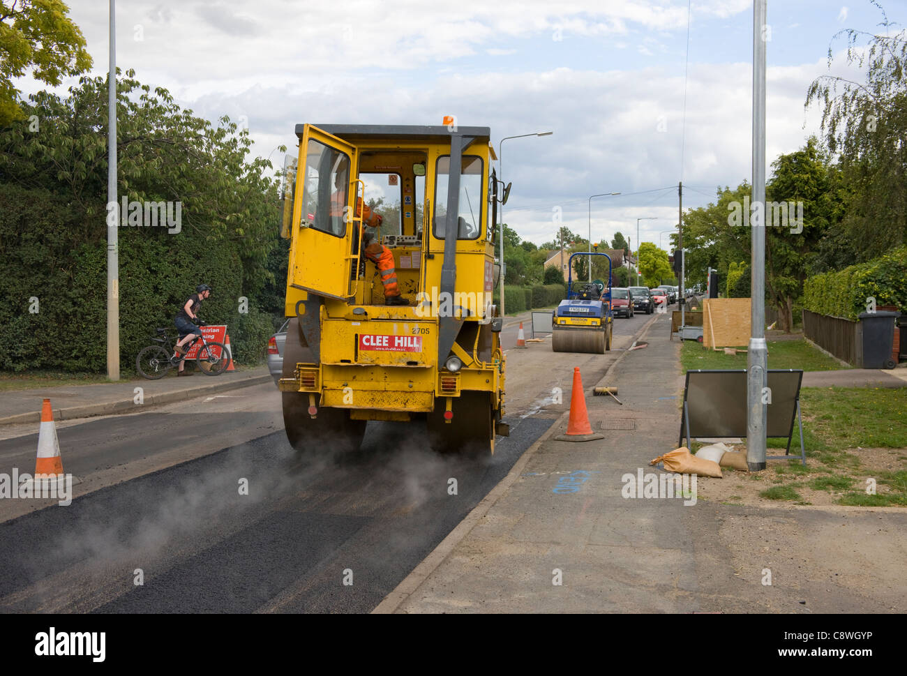Heavy Road Roller Compacting Freshly Laid Asphalt Road Surface ...