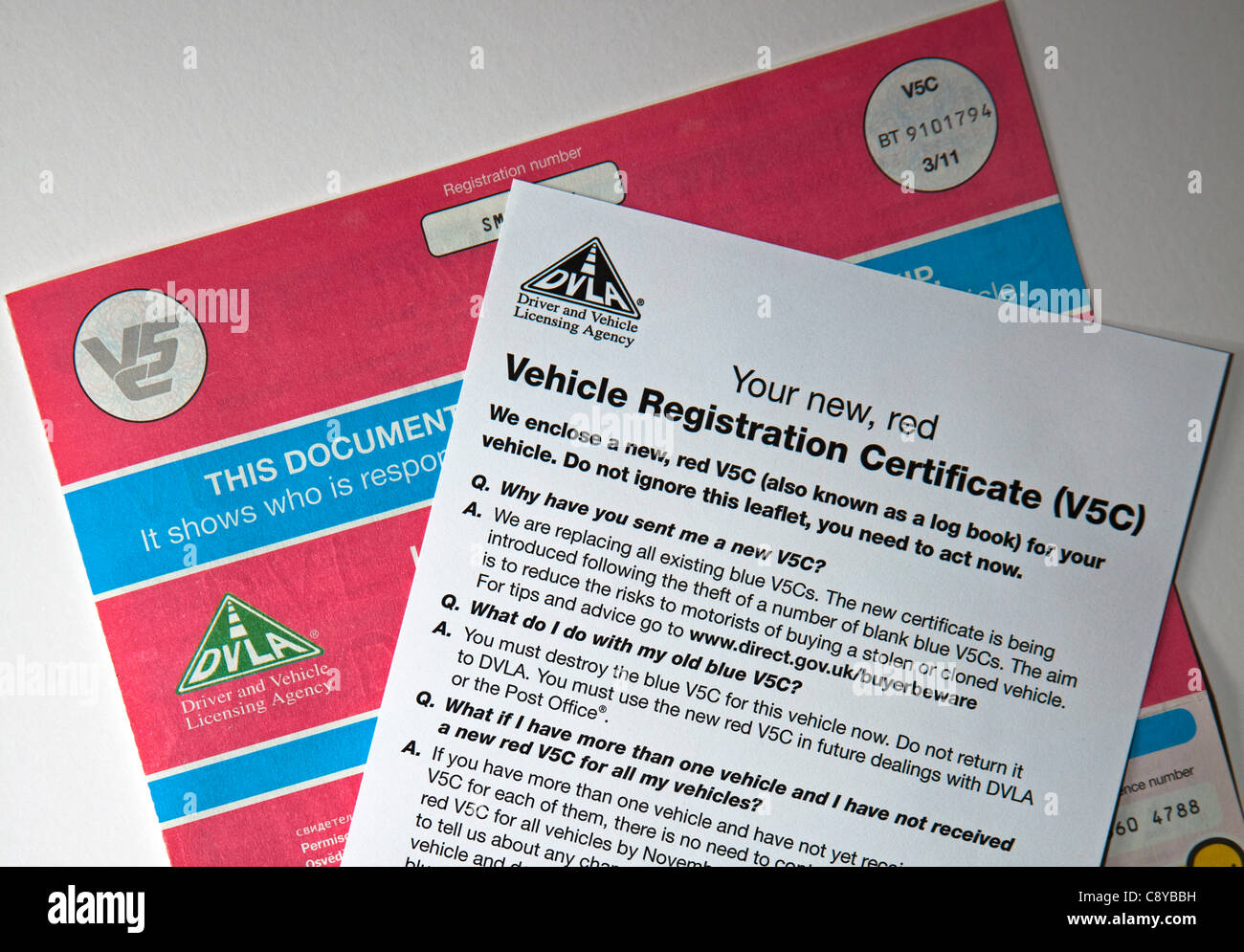 New Red V5c Vehicle Log Book Uk Vehicle Registration Certificate