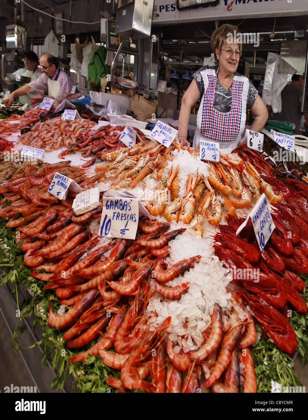Fresh fish at Central market hall , Mercado Central, Valencia, Spain Stock Ph...