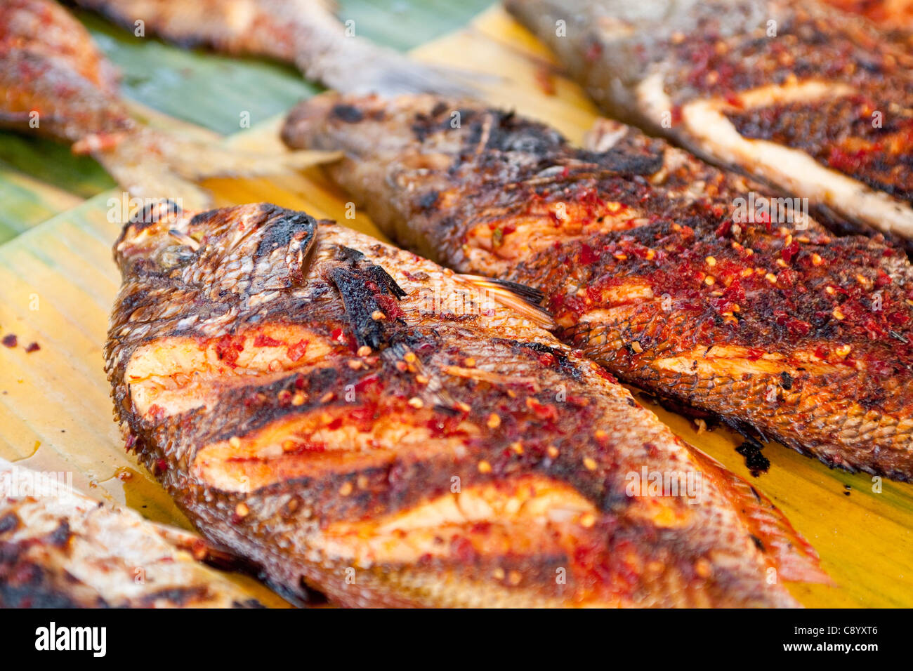 Grilled fish in philippines market in kota kinabalu sabah for Bbq fish grill