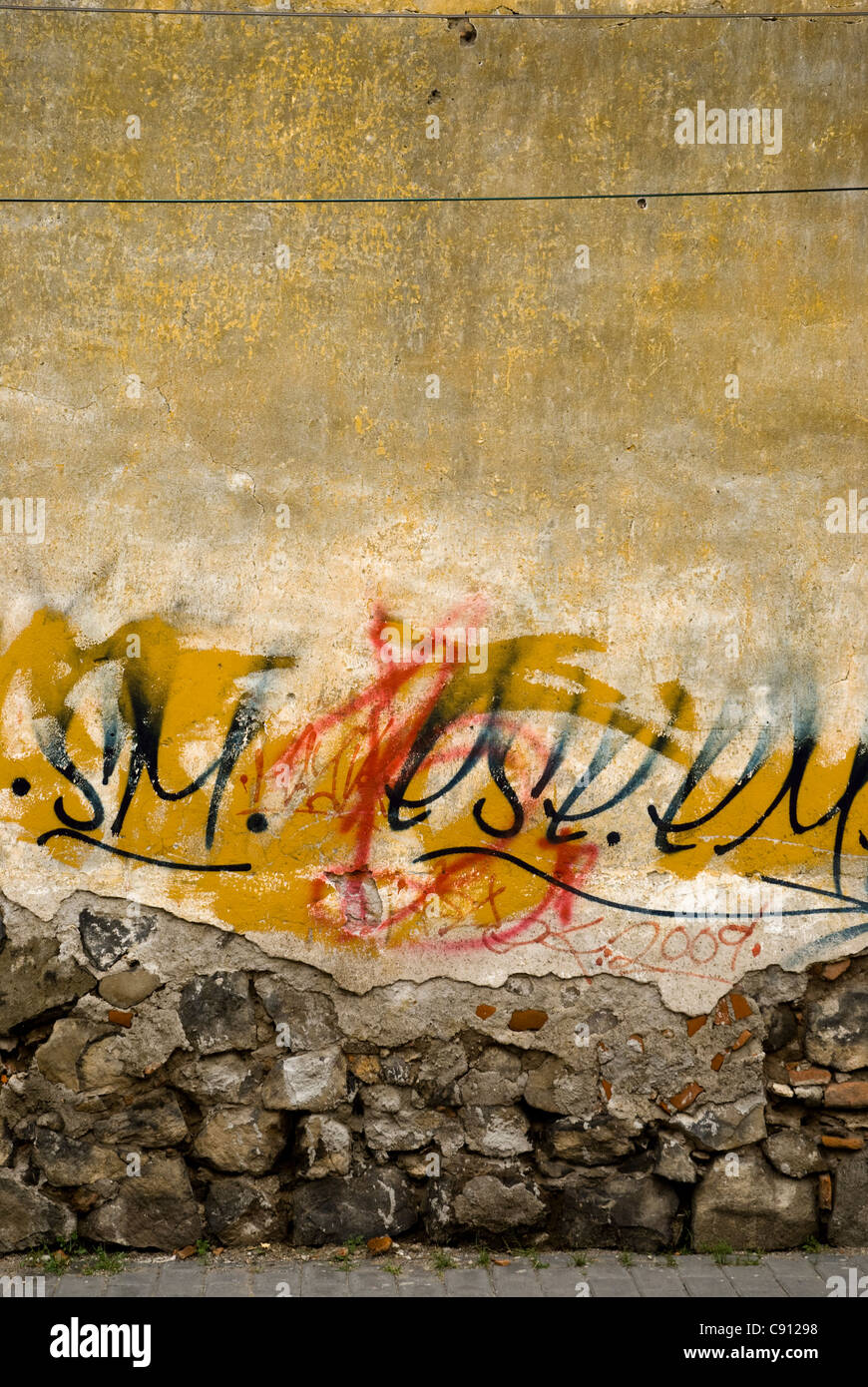 Yellow graffiti on yellow wall Stock Photo, Royalty Free Image ...