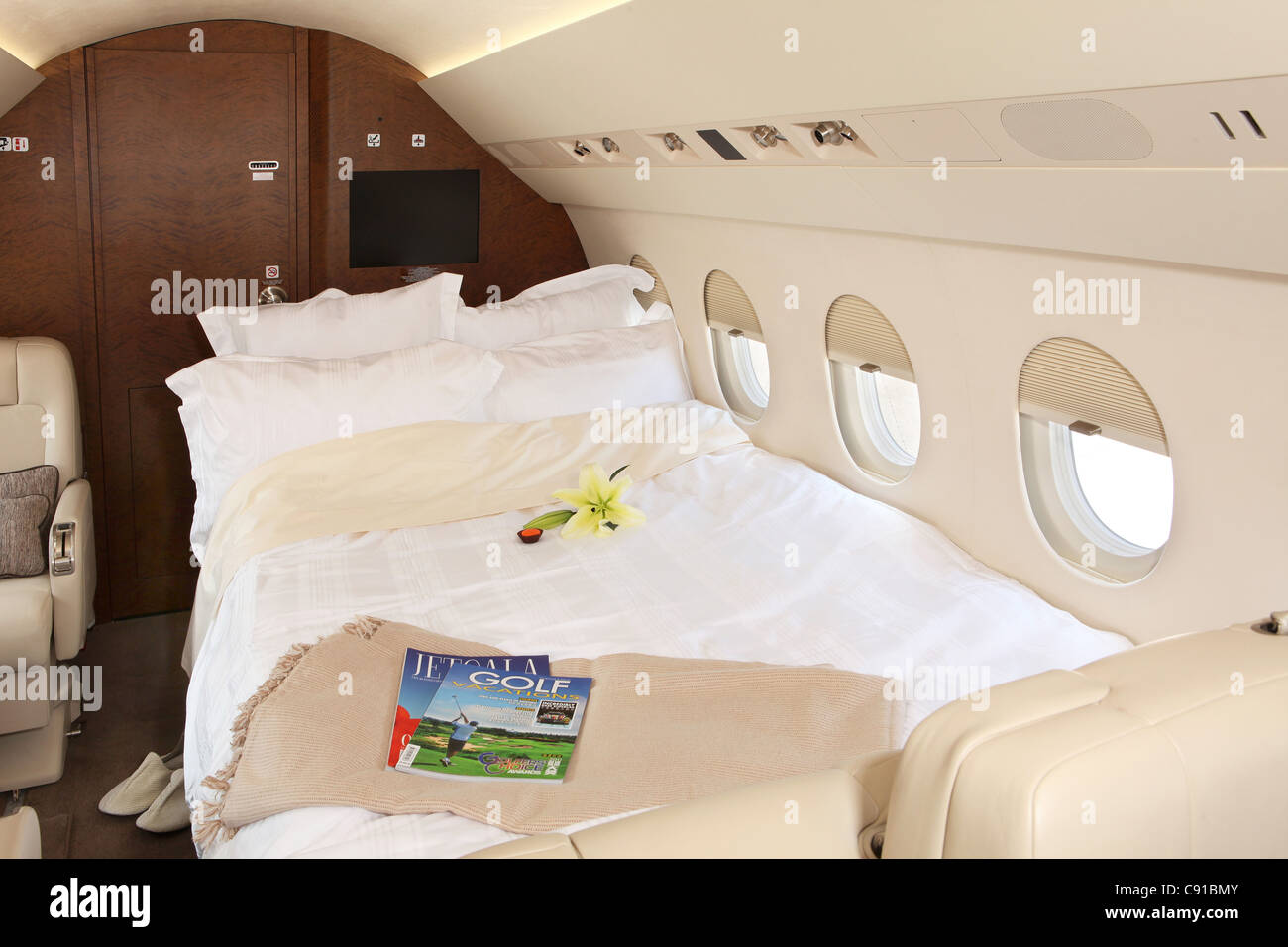 Interior Of A Private Jet Bed Airplane Stock Photo Royalty Free Image 39983803 Alamy
