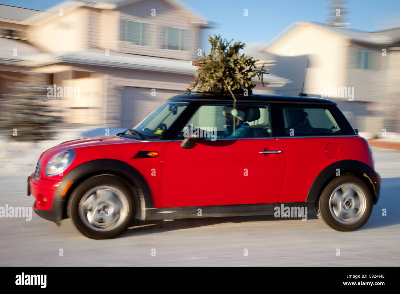 red mini cooper sports car with christmas tree on top. Black Bedroom Furniture Sets. Home Design Ideas