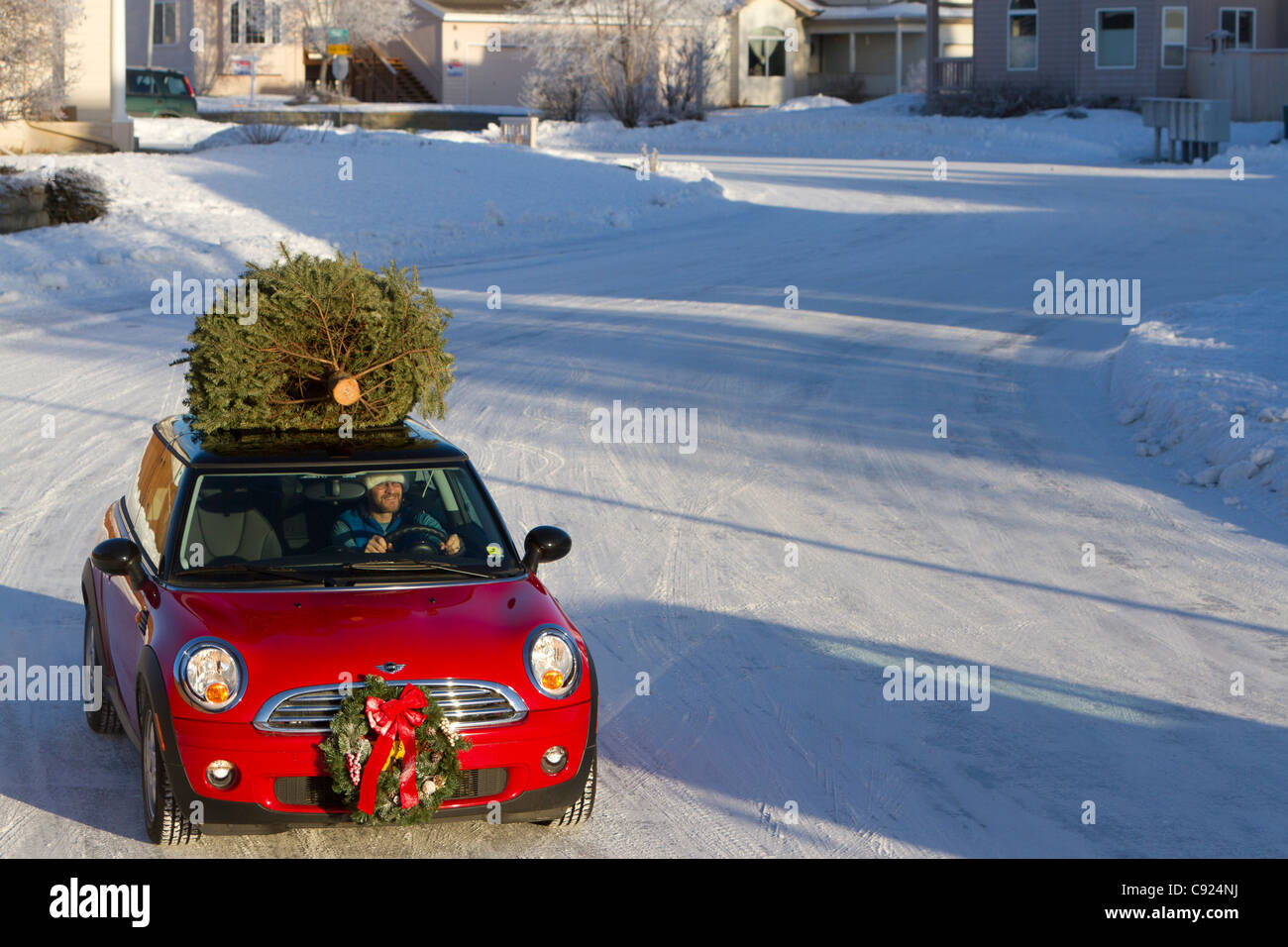 Red Mini Cooper Sports Car With Christmas Tree On Top Drives On  - Christmas Tree On Car