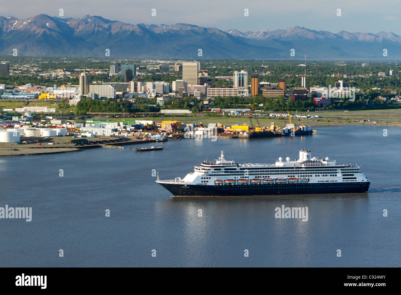 Holland america cruise ship amsterdam arrives in cook inlet with stock
