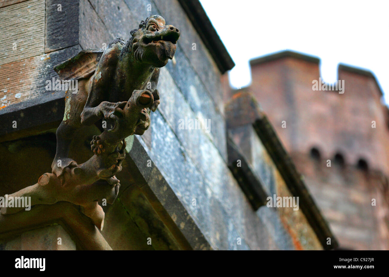 Lews castle is a historic building with decorative water spouts at stock photo royalty free - Decorative water spouts ...