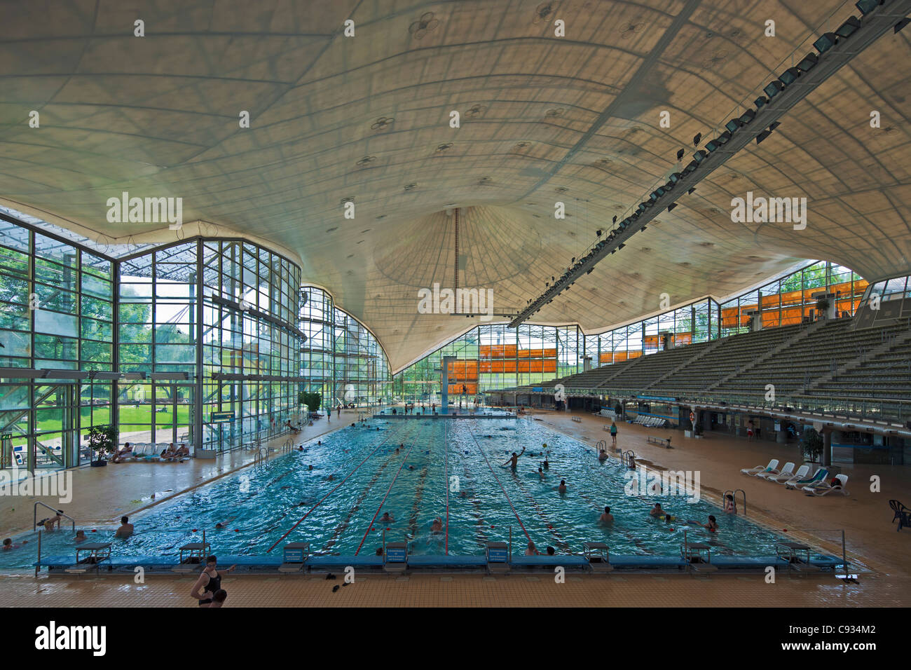 Interior Of The Munich Olympic Swimming Pool Park Gern Bayern Germany