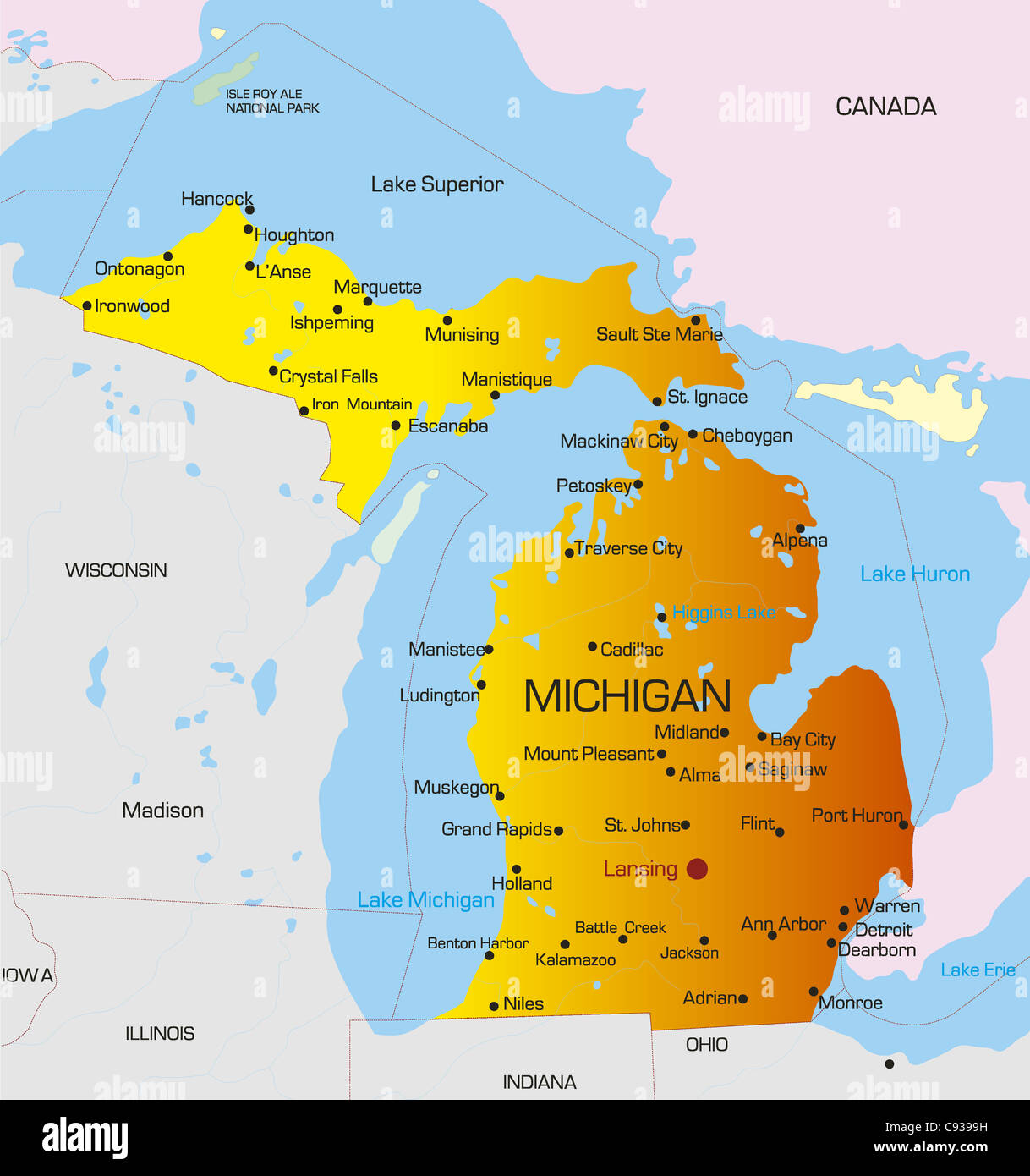 Vector Color Map Of Michigan State Usa Stock Photo Royalty Free - Michigan state usa map