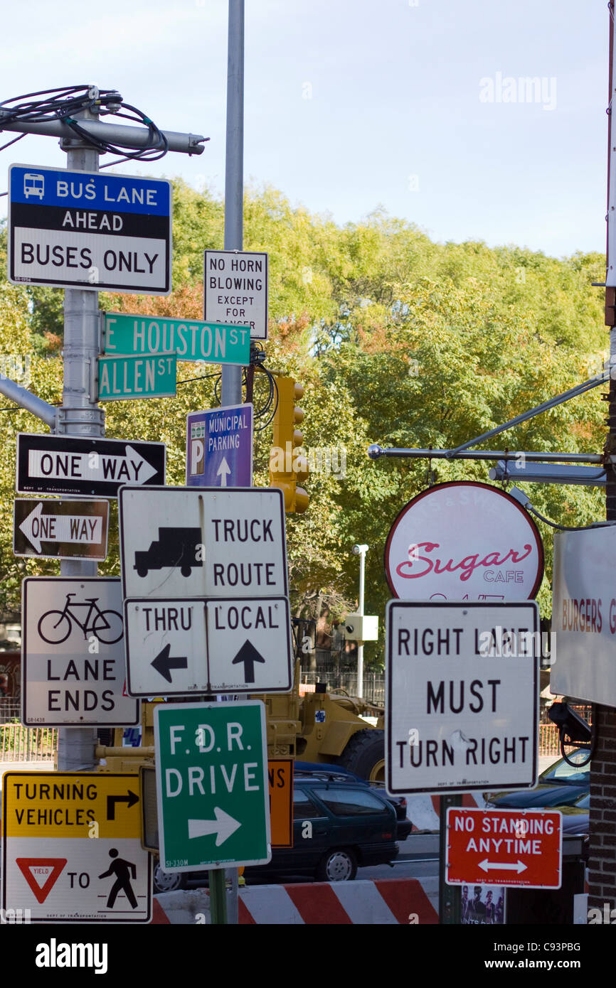 confusing road signs in new york city stock photo royalty