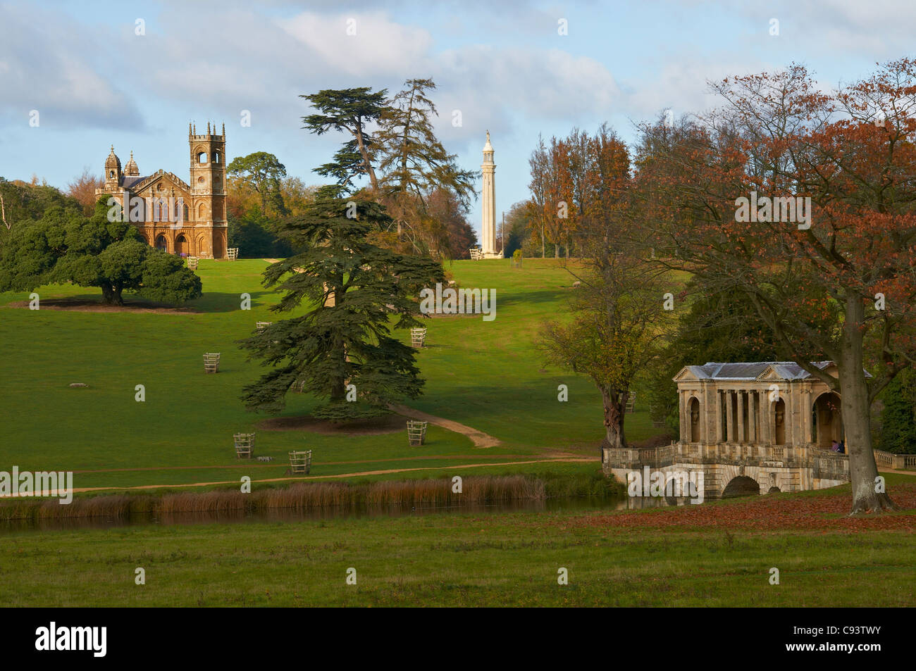 Gothic Temple, The Palladian Bridge And Monument In Beautiful Stowe Gardens  In North Buckinghamshire