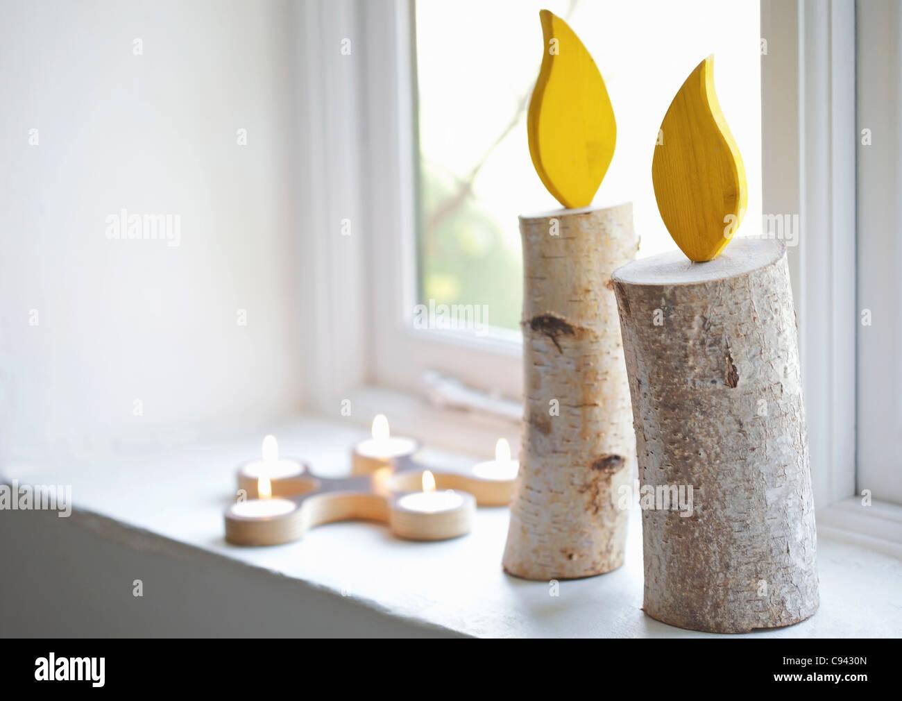 Handmade Decorative Candles on Window Sill Stock Photo Royalty