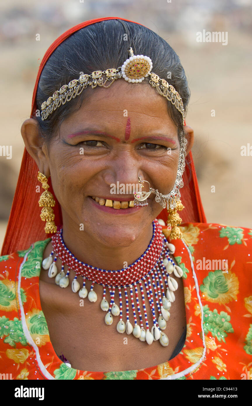 Portrait Of A Rajasthani Woman With Gold Teeth Wearing
