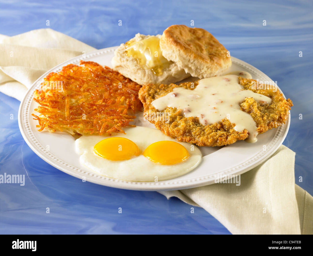 Stock Photo - Chicken fried steak with country gravy served with two ...