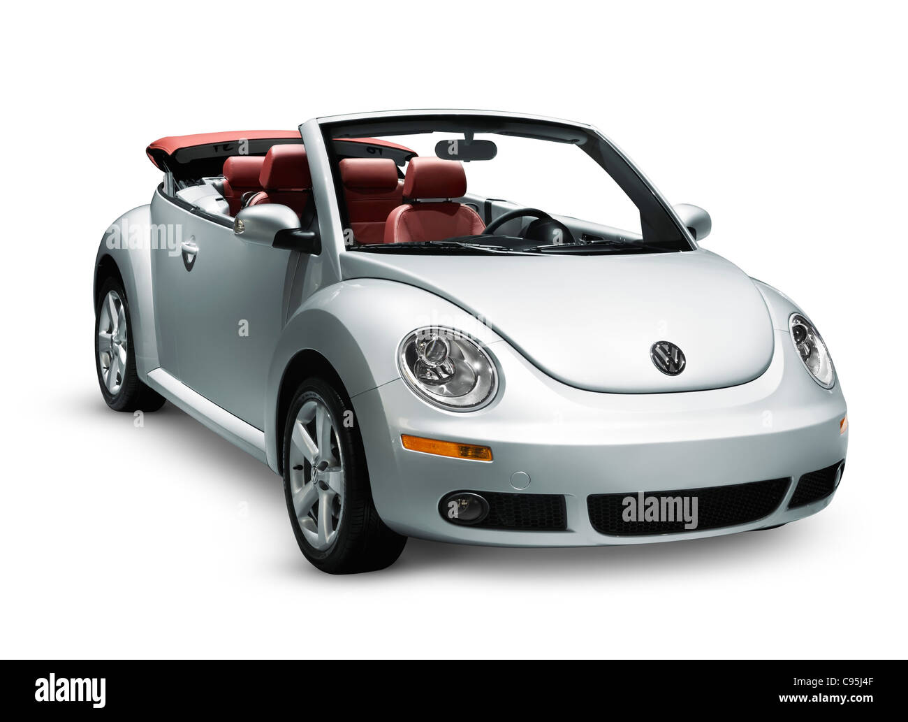 Silver 2009 new volkswagen beetle convertible isolated on white background stock image