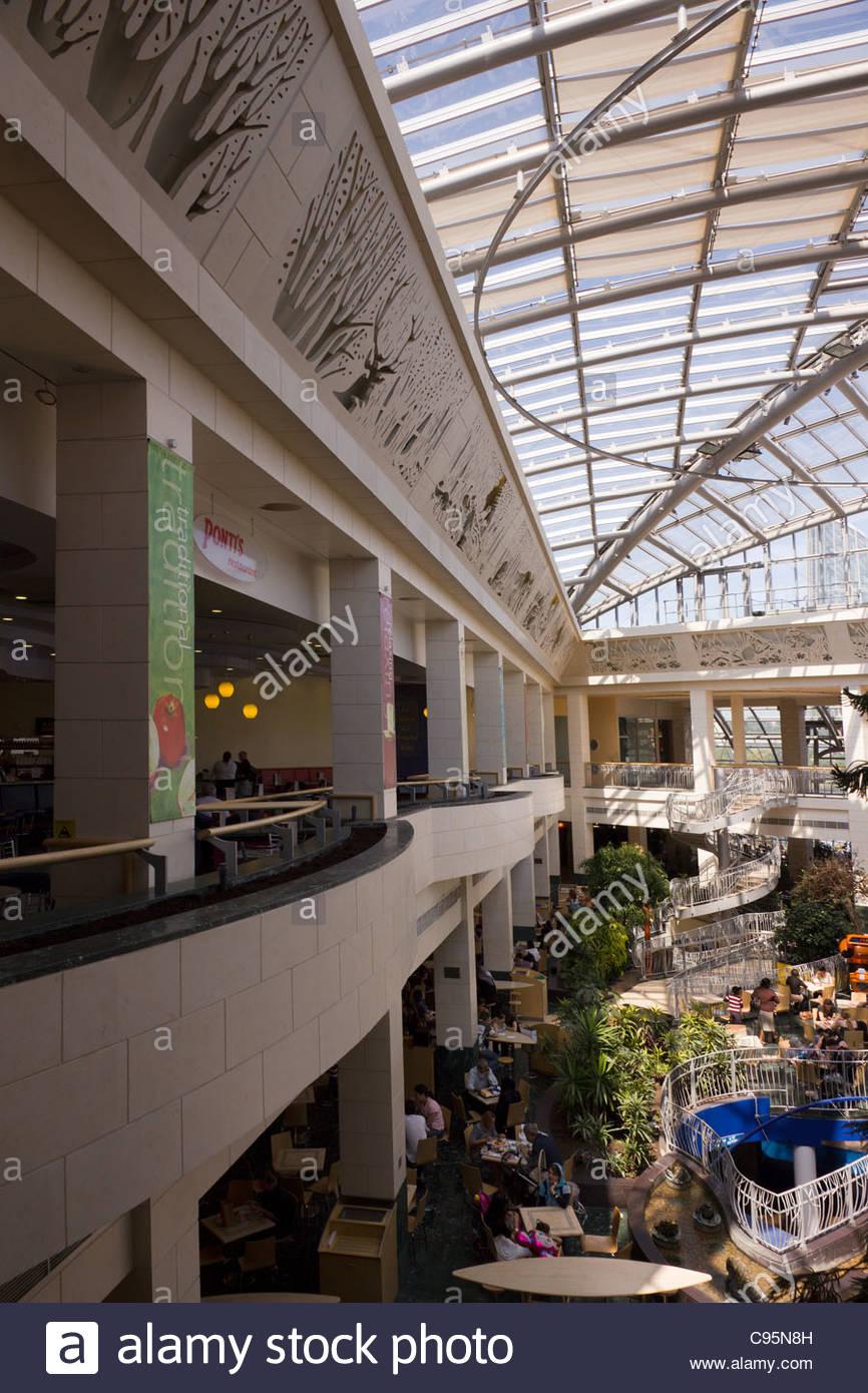 massive steel and glass roof atrium above wintergarden food court