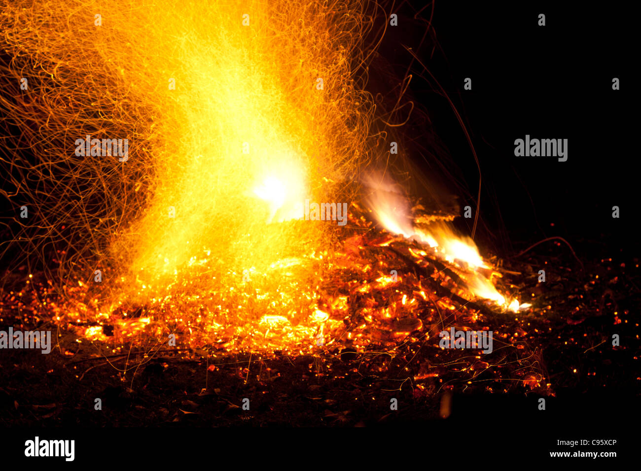 Fire With Flames And Sparks Intense Orange Yellow Glow