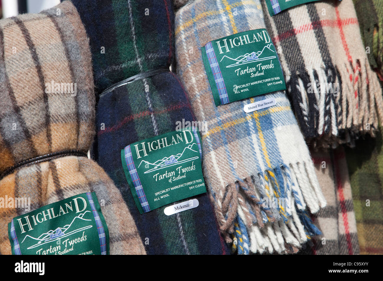 Scotland, Edinburgh, The Royal Mile, Souvenir Shop Scarf Display ...