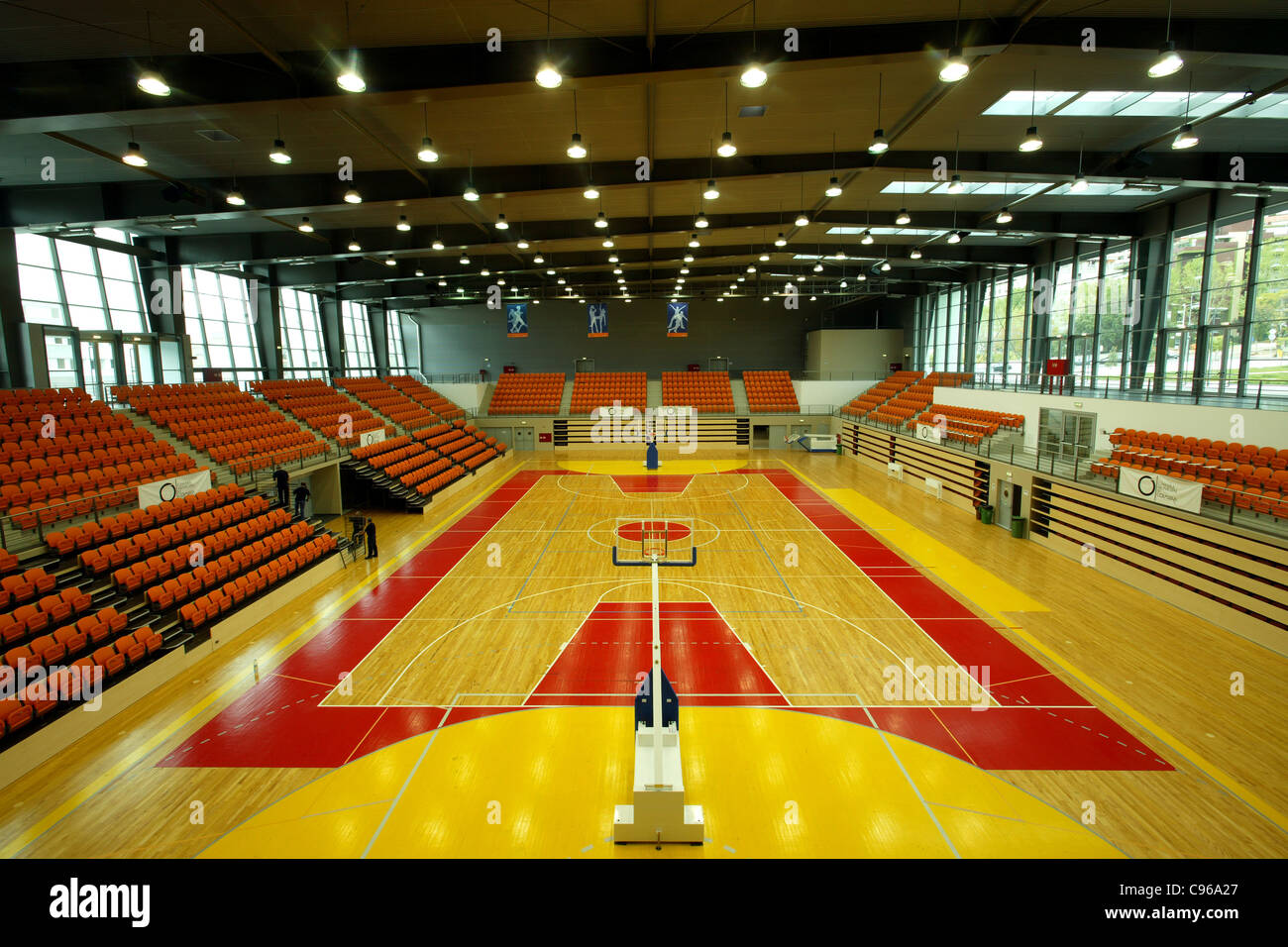 Basketball court at indoor sports arena in Coimbra, Portugal Stock ...