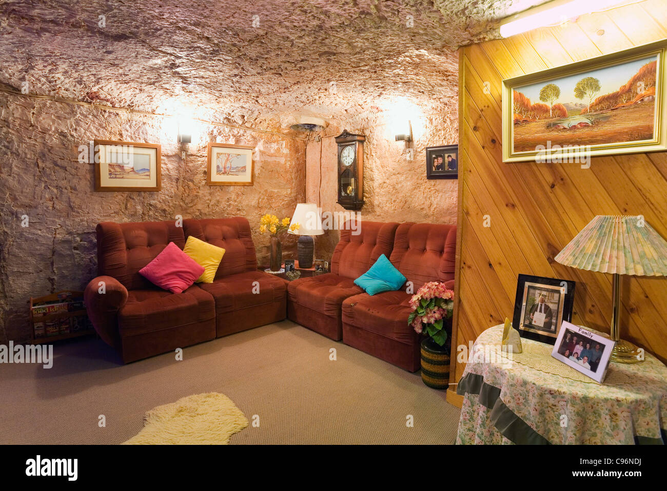 underground home. Living room in Faye s underground home  Coober Pedy South Australia Stock