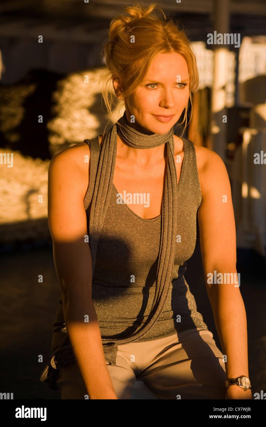 Actress Veronica Ferres on the film set of Die lange Welle ...  Actress Veronic...
