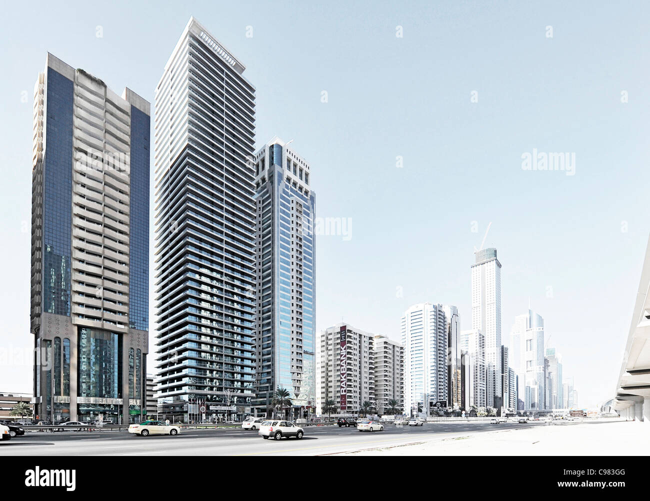 Modern Architecture High Rise Buildings Sheikh Zayed Road Downtown Dubai United Arab Emirates Middle East