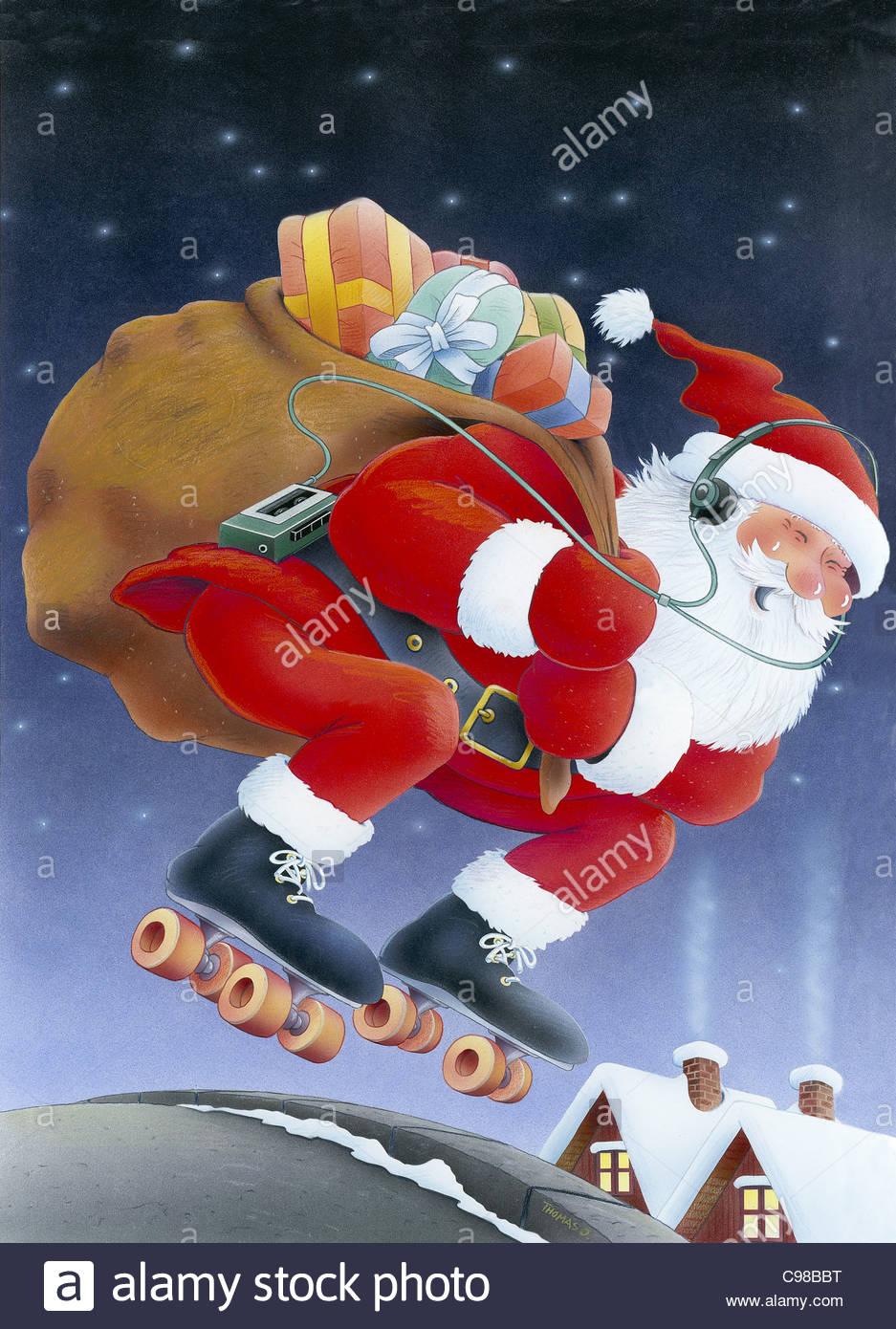 Santa Claus On Roller Skates Santa Claus Weihnachtsmaenner