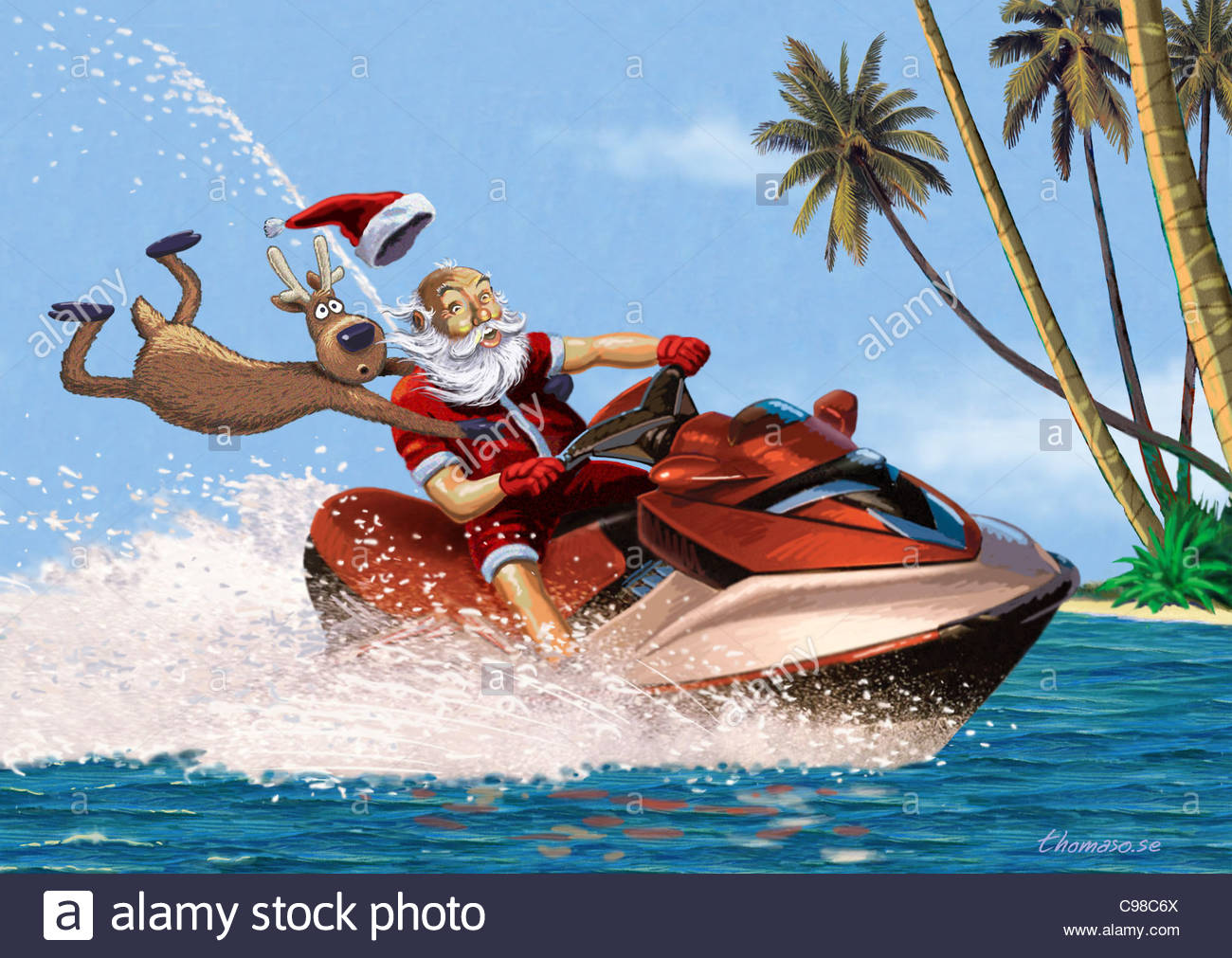 Santa Claus and Moose with Jetski Santa Claus ...