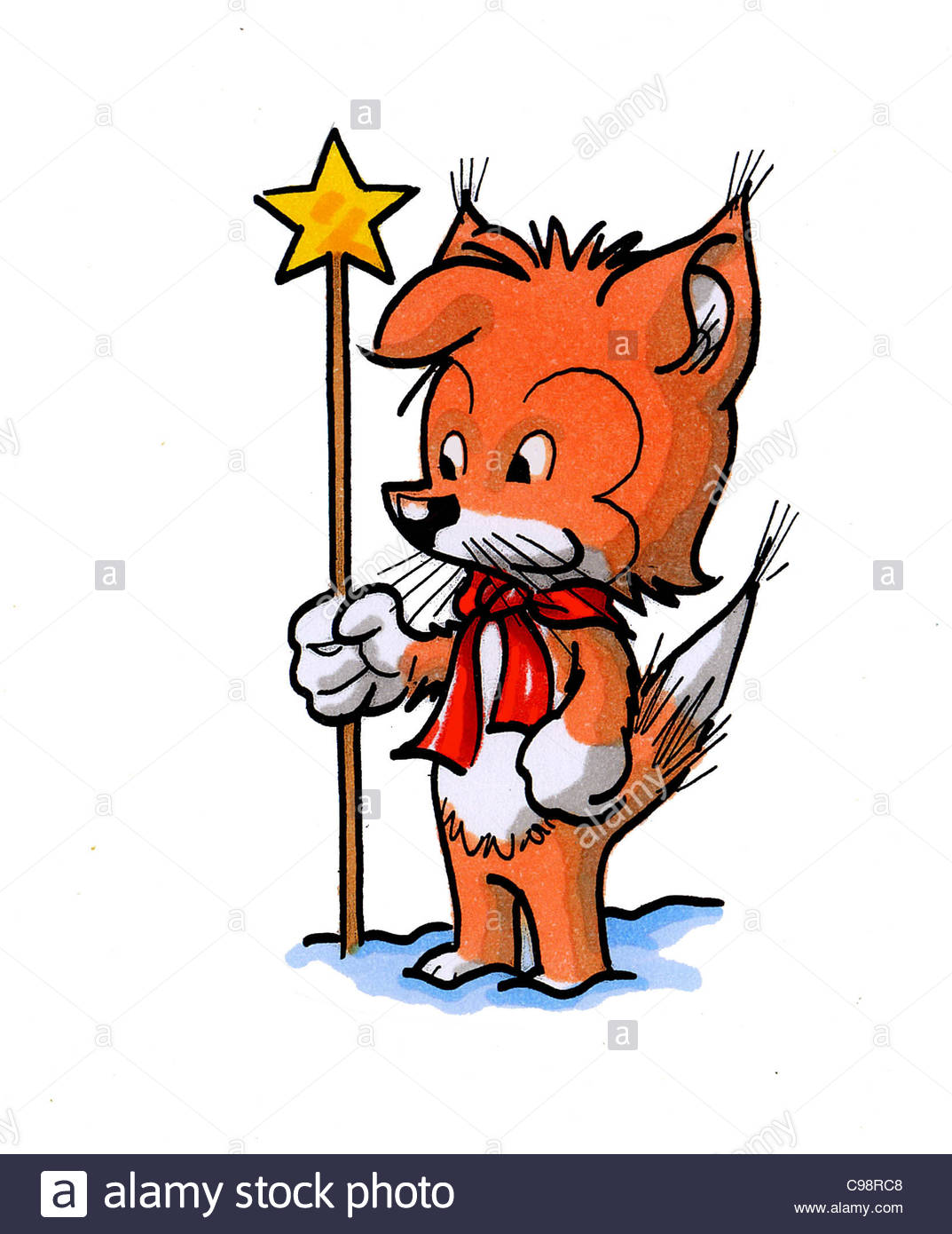 Cartoon character cunning fox with christmas star