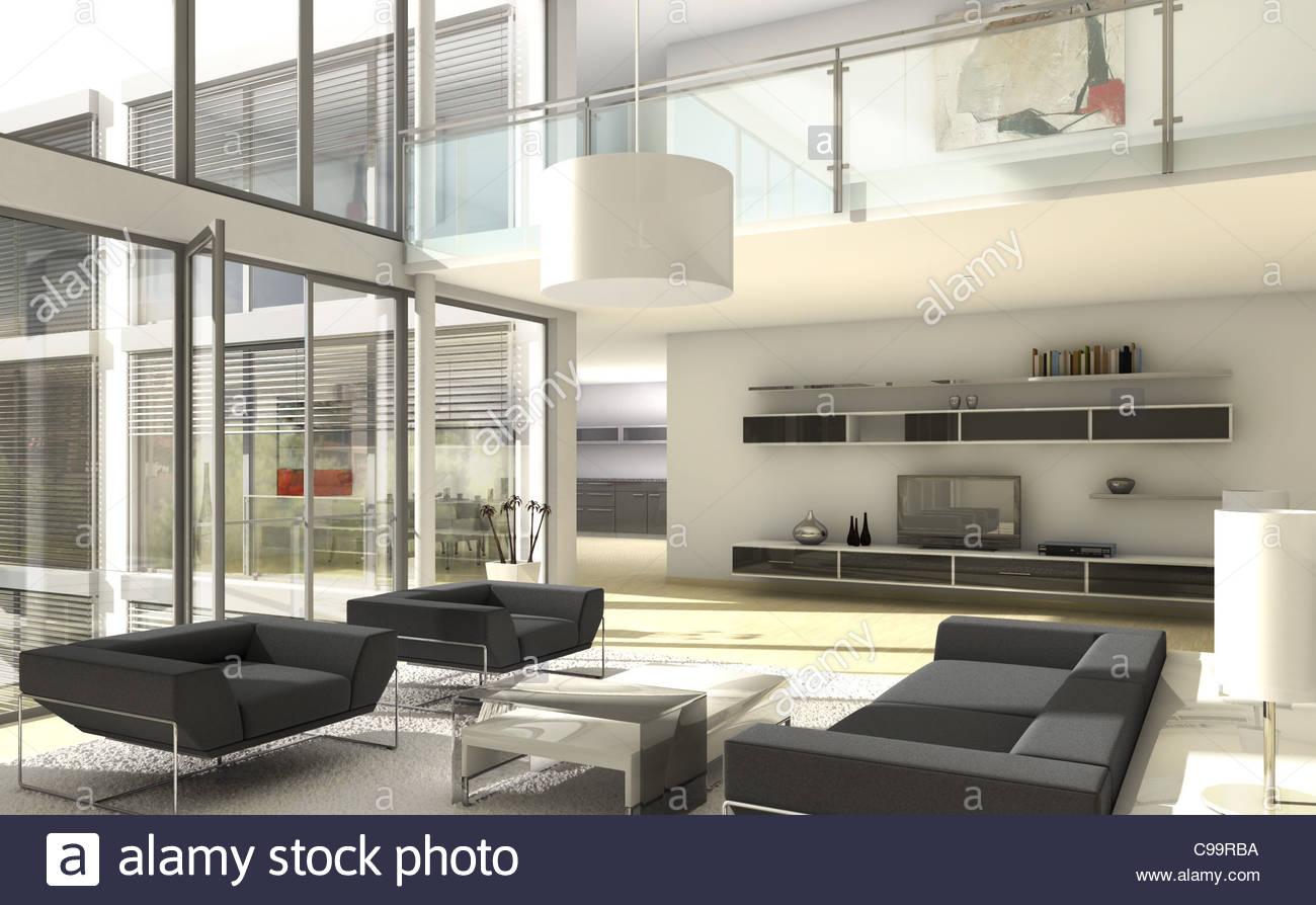 architecture loft glass front living room desginermbel modern home