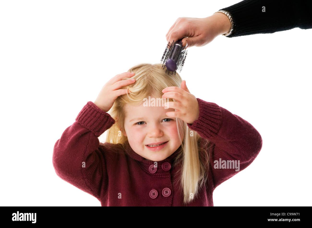Hair Brush Hairbrush Girl Having Her Brushed Long Blond