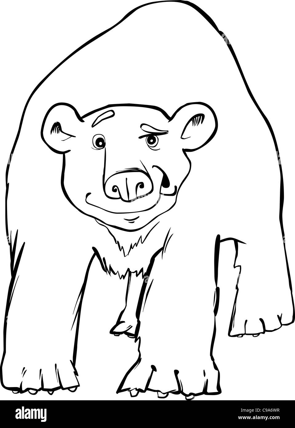 Cartoon Illustration Of Funny Polar Bear Coloring Page Stock Photo
