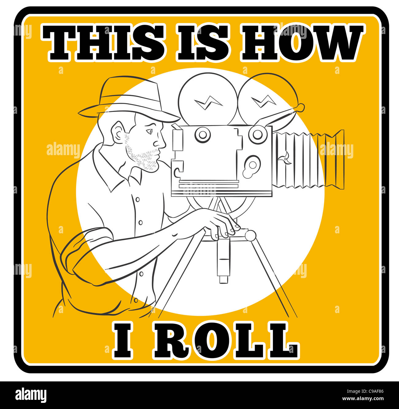 Illustration Of A Cameraman With Vintage Camera Shooting Side View Done In The Style Cartoon Words This Is How I