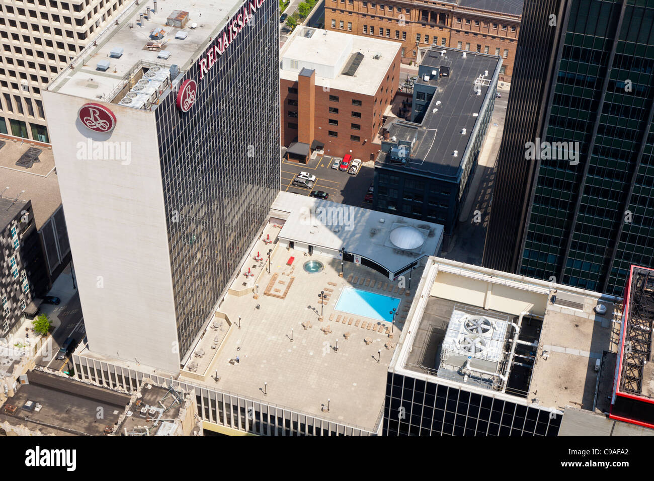 aerial view of renaissance hotel building downtown. Black Bedroom Furniture Sets. Home Design Ideas