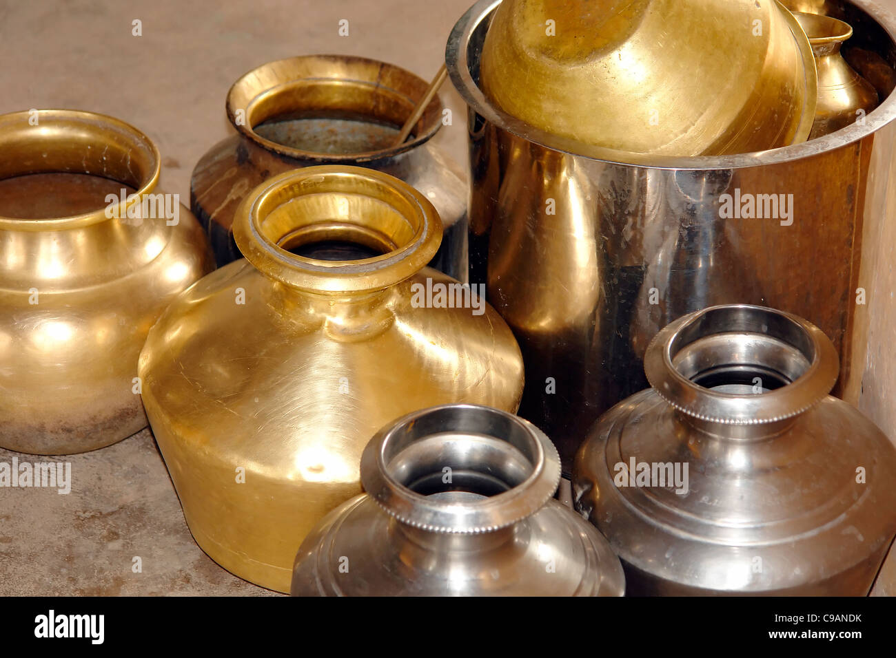 brass steel utensils pot traditional indian vessel