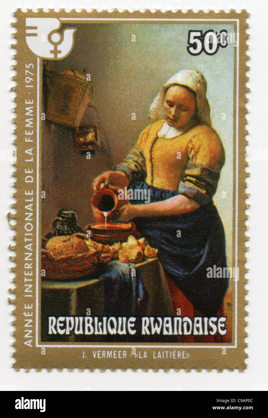 Rwanda postage stamp - Johannes Vermeer\'s The Kitchen Maid Stock ...