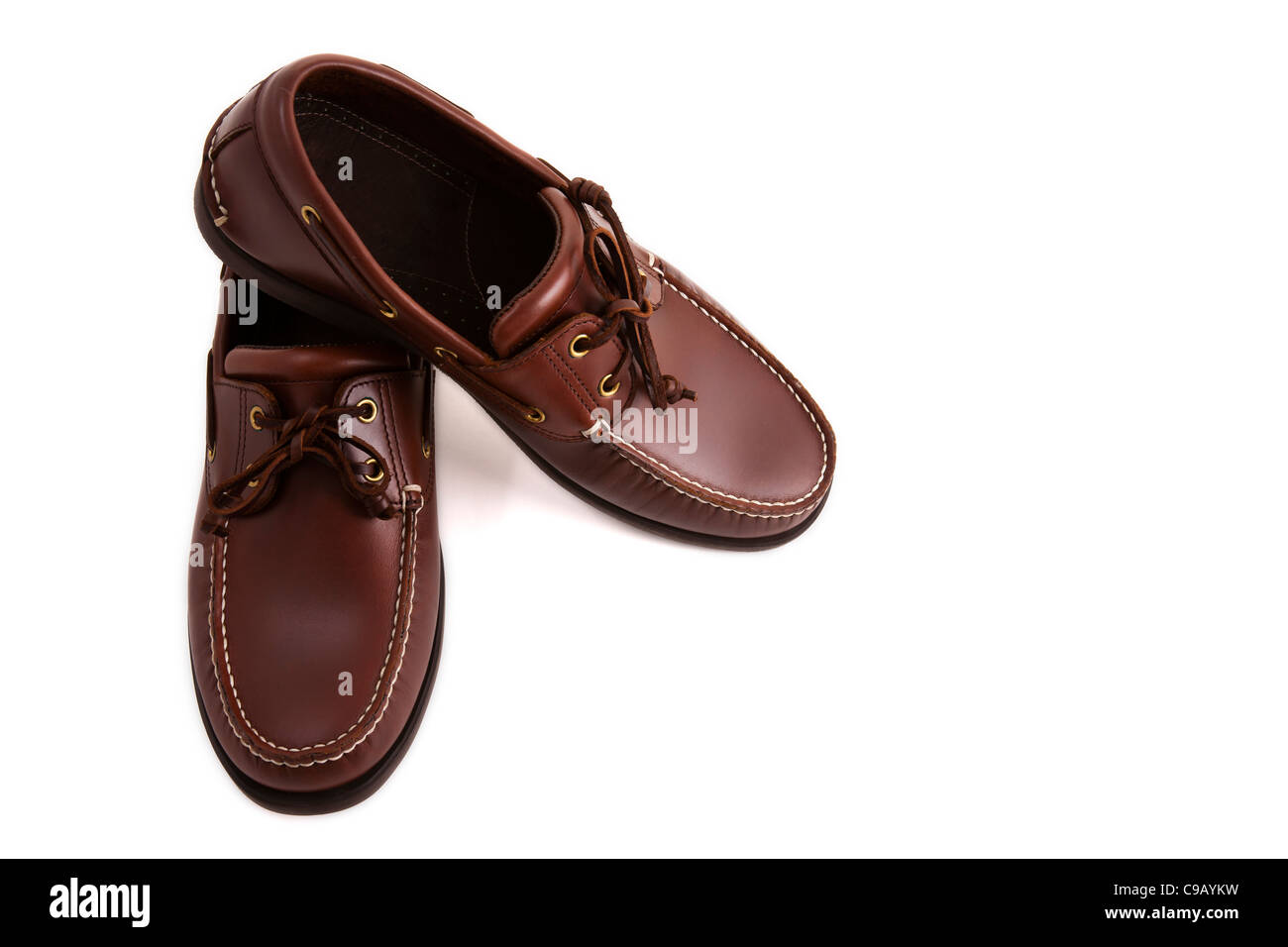 a new casual brown leather shoe stock photo royalty