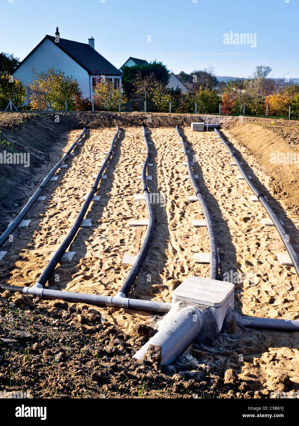 Newly constructed ground water drainage system france for Ground drainage system