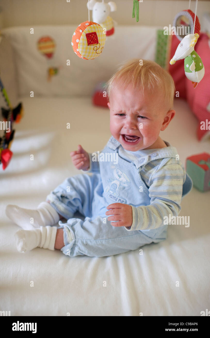 11 Month Baby Boy Crying In Cot Bed London England UK