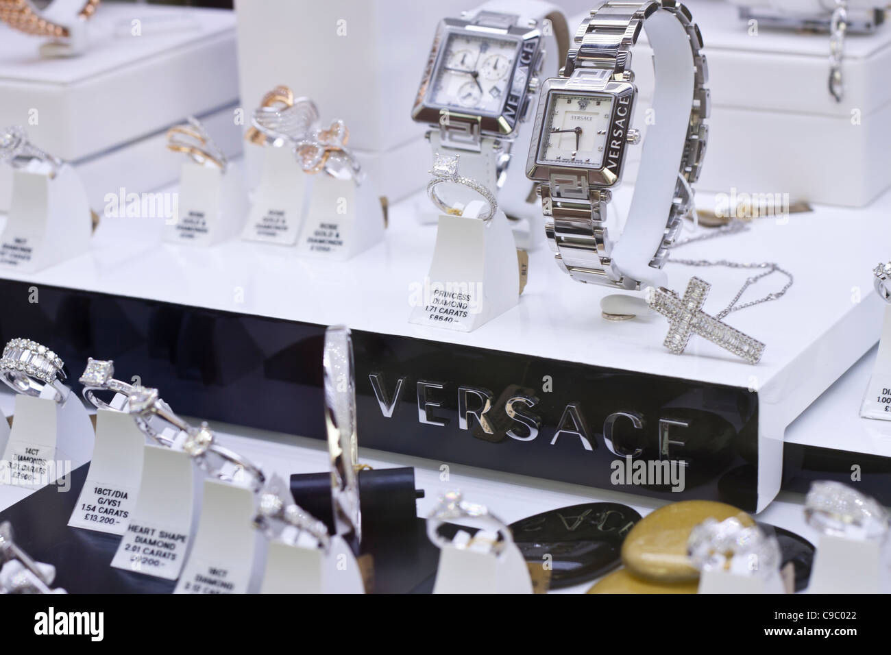 Detail of versace shop window displayed luxury diamond rings and detail of versace shop window displayed luxury diamond rings and watch biocorpaavc Gallery