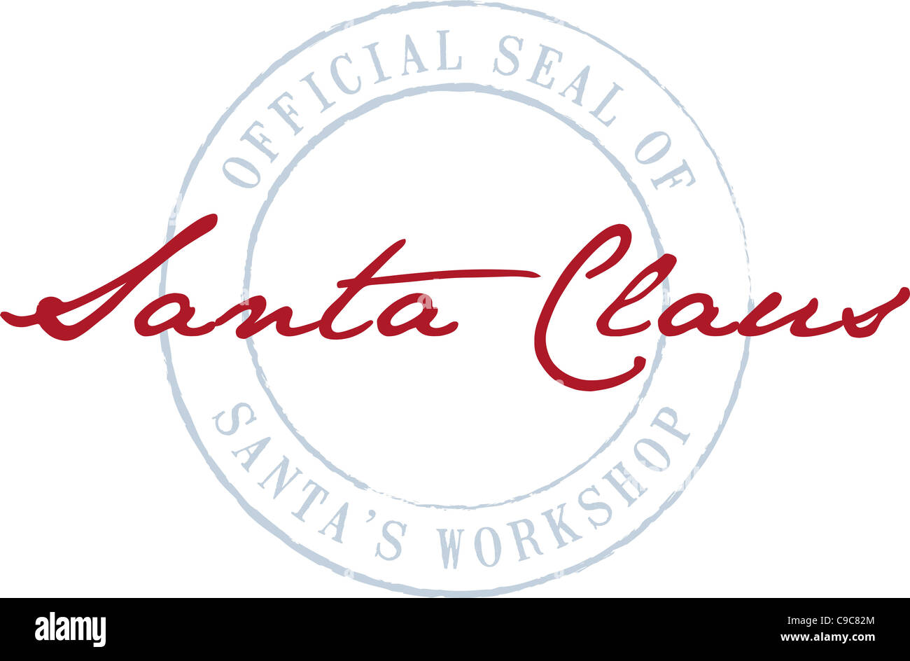 Santa Claus's red signature is signed on top of the circular ...