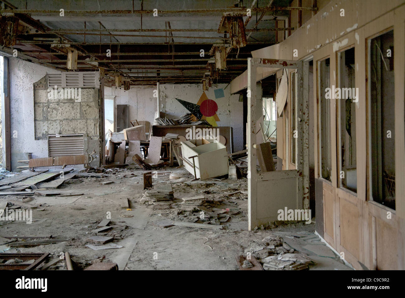 Vandalised And Looted Classroom In The Pripyat Middle