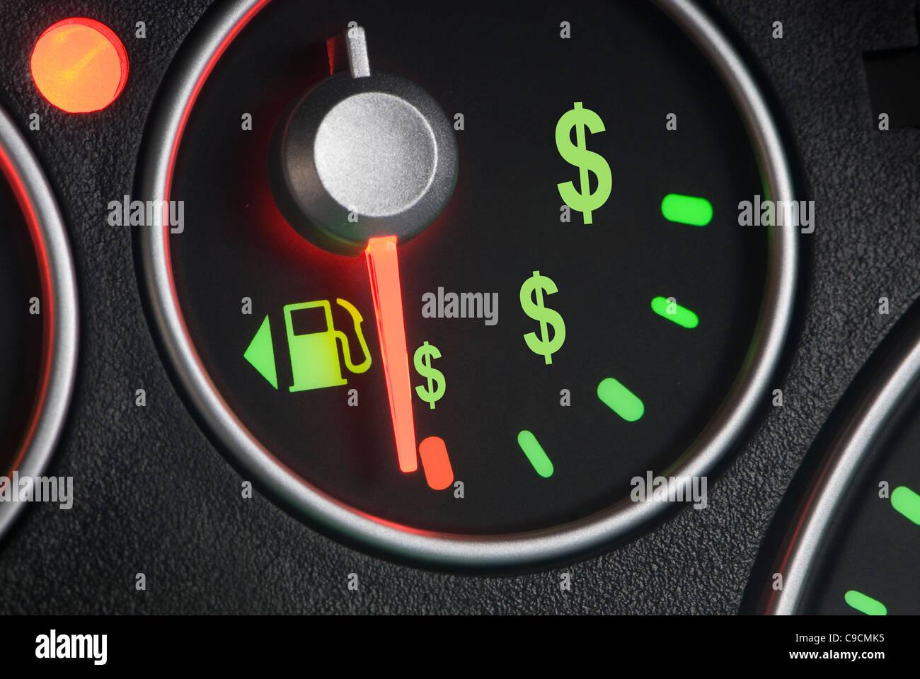Fuel guage on empty with currency symbols stock photo royalty fuel guage on empty with currency symbols buycottarizona