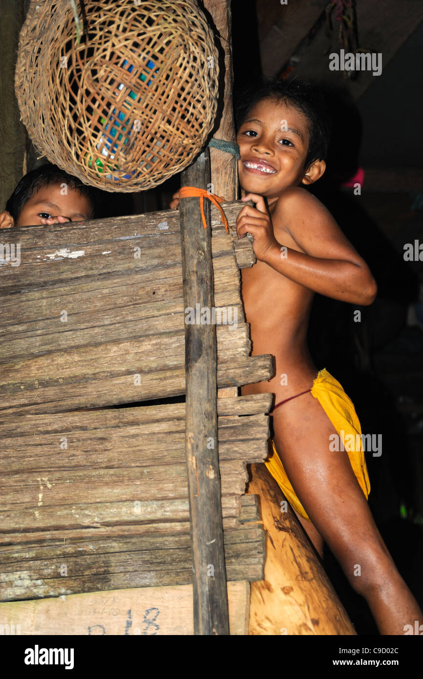 loincloth  boy embera child in yellow loincloth - Stock Image