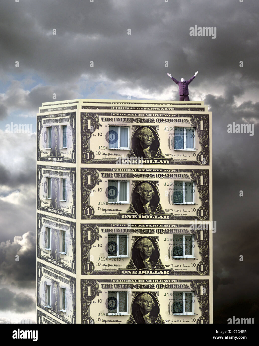 Man Standing On Top Of A Building Made From Paper Money