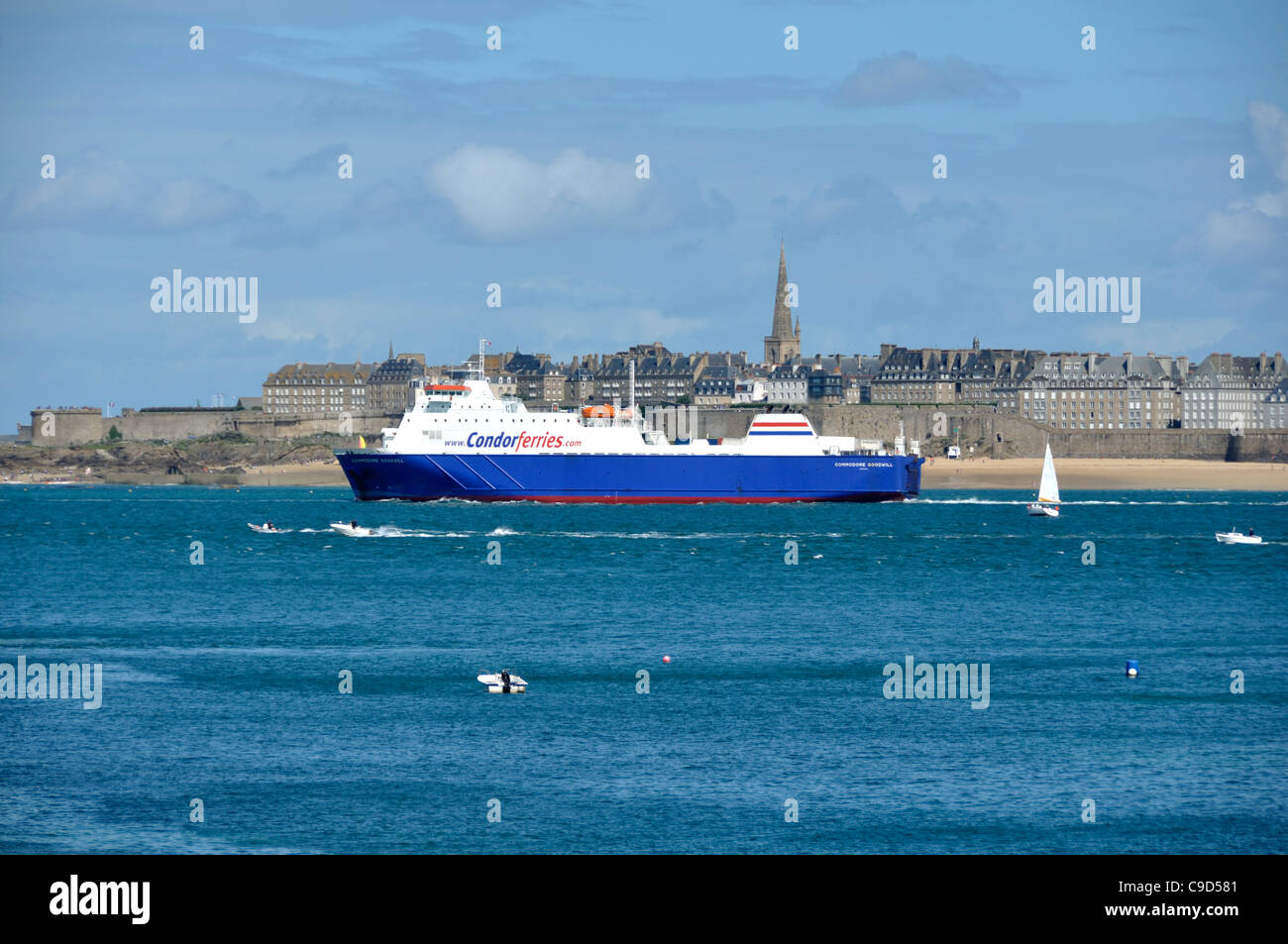 A Car Ferry Leaves The Port Of St Malo Brittany France Stock
