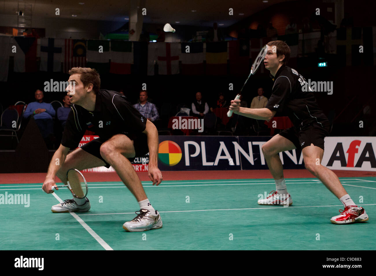 Badminton players Vladimir Ivanov left and Ivan Sozonov right