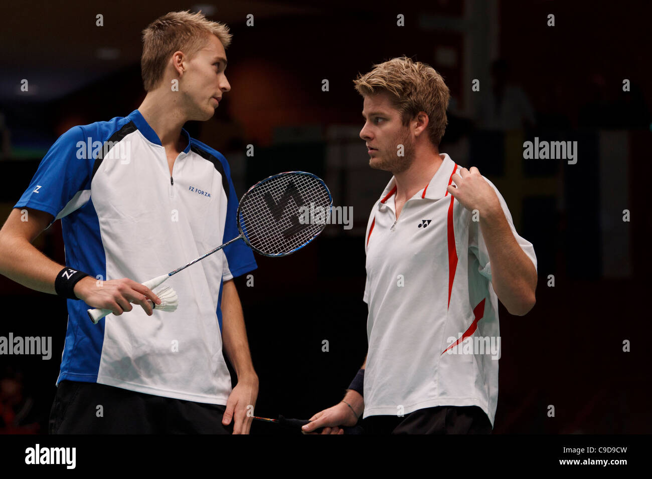 Badminton players Mads Pieler Kolding left and Christian John