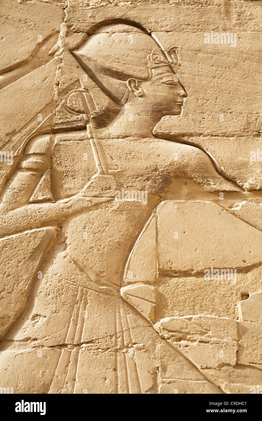 Egypt, Luxor, Karnak Temple, Relief carvings on wall of Great Stock ...