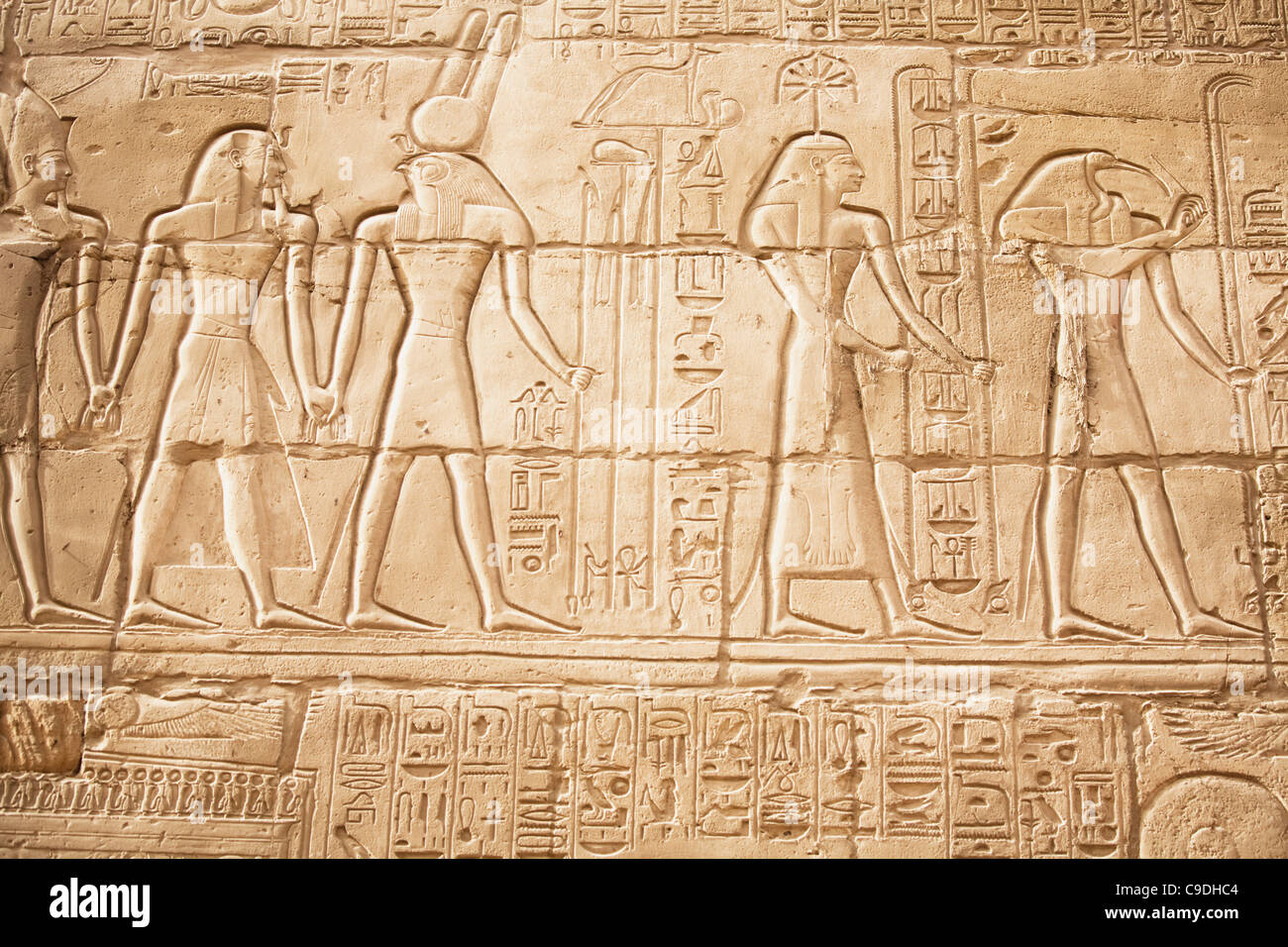 Egypt luxor karnak temple relief carvings on wall of